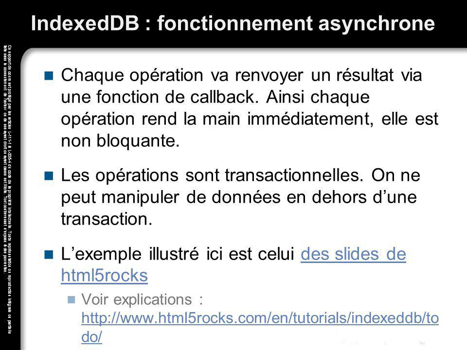 IndexedDB : fonctionnement asynchrone