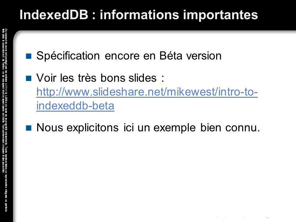 IndexedDB : informations importantes
