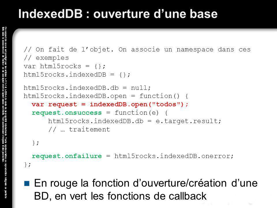 IndexedDB : ouverture d'une base
