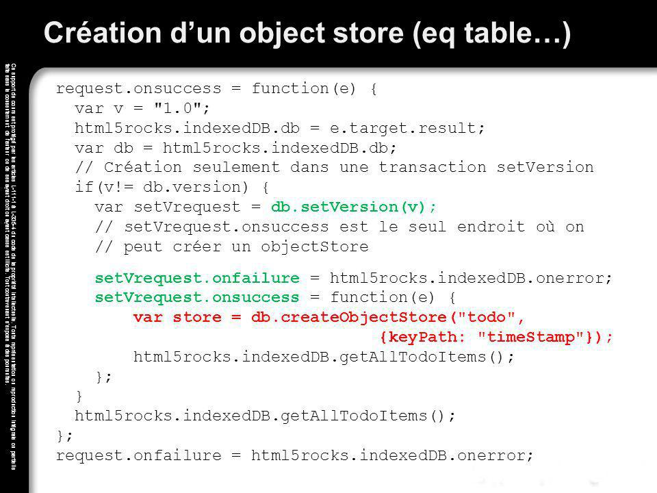 Création d'un object store (eq table…)