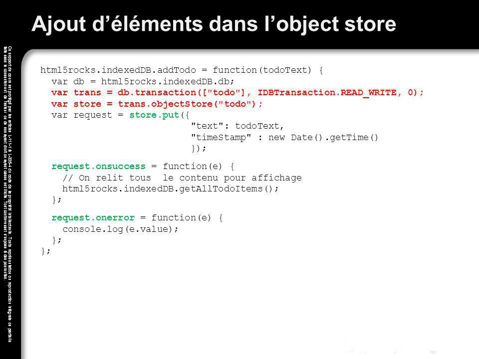 Ajout d'éléments dans l'object store