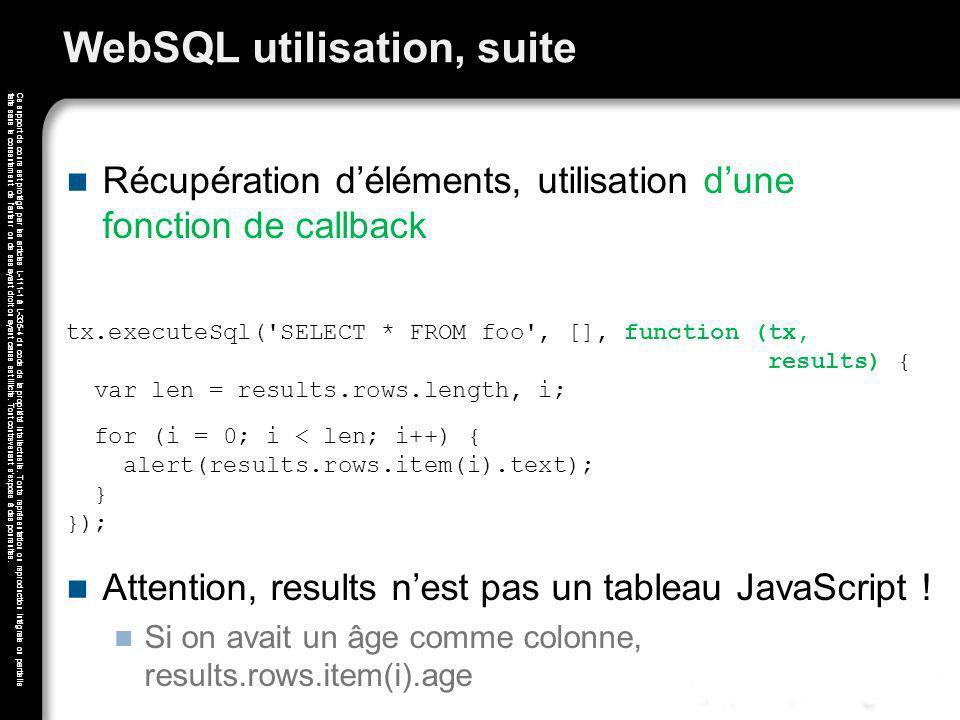 WebSQL utilisation, suite