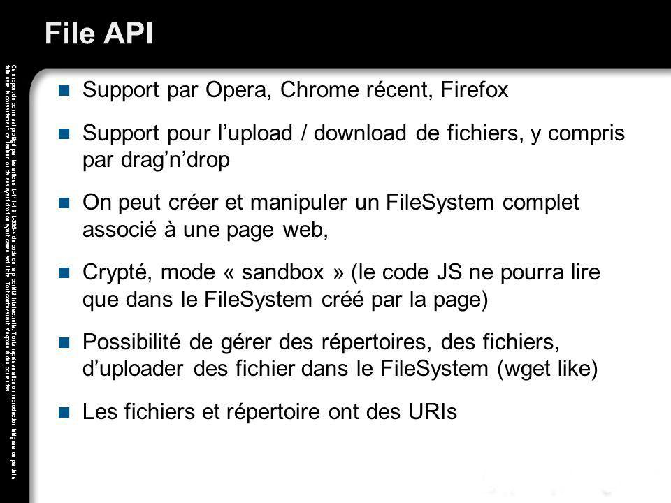 File API Support par Opera, Chrome récent, Firefox