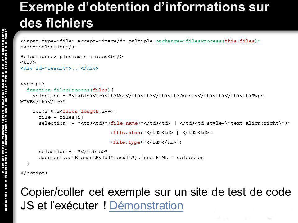Exemple d'obtention d'informations sur des fichiers