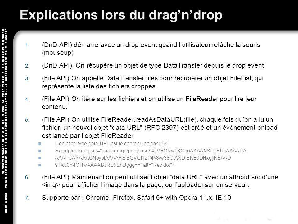 Explications lors du drag'n'drop