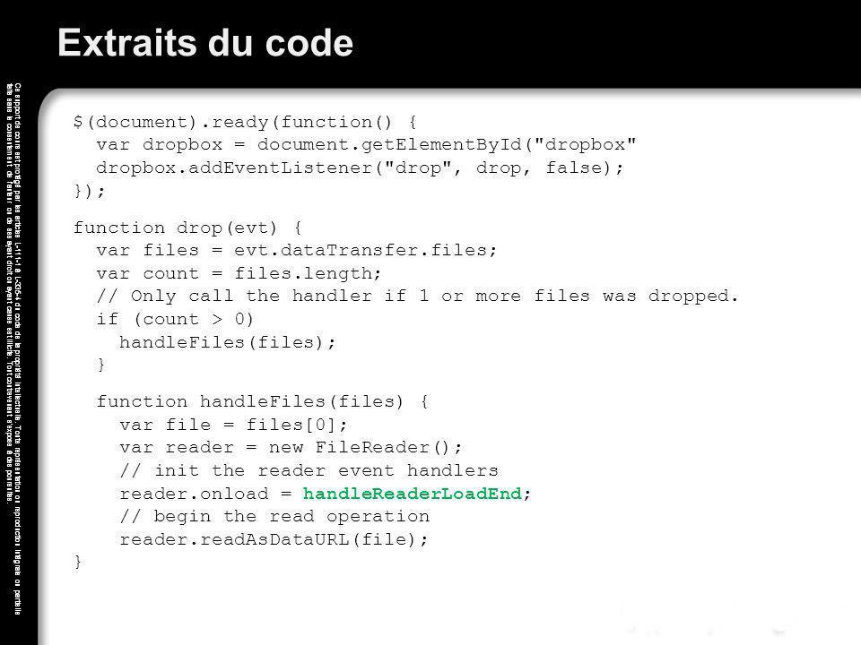 Extraits du code