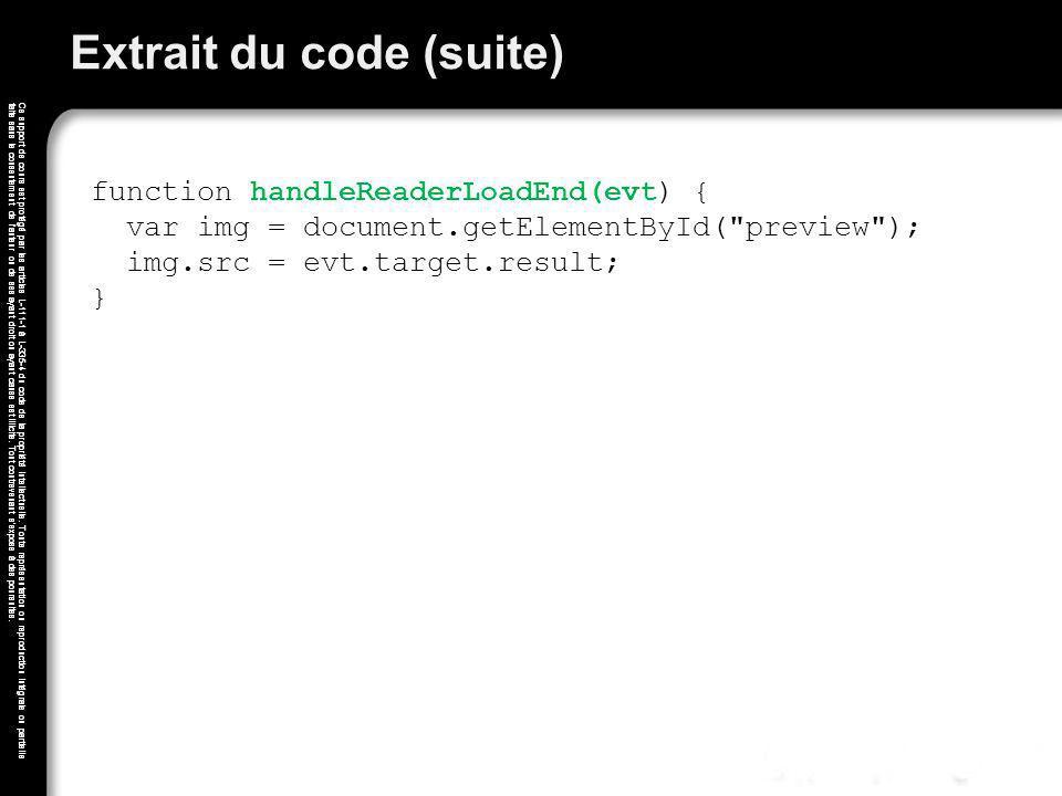 Extrait du code (suite)