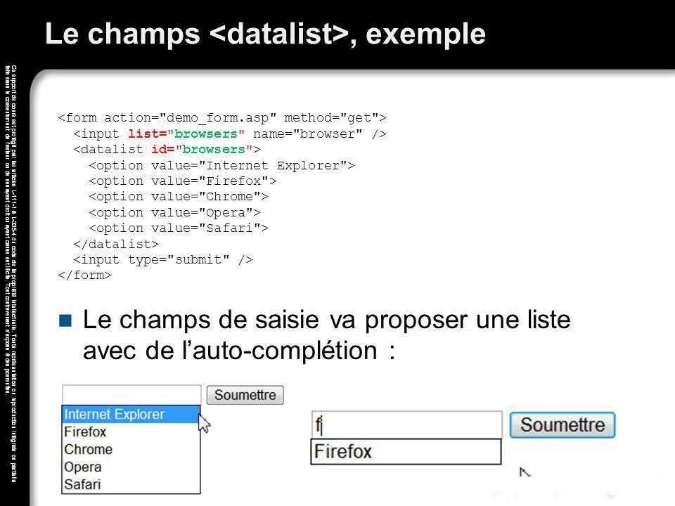 Le champs <datalist>, exemple