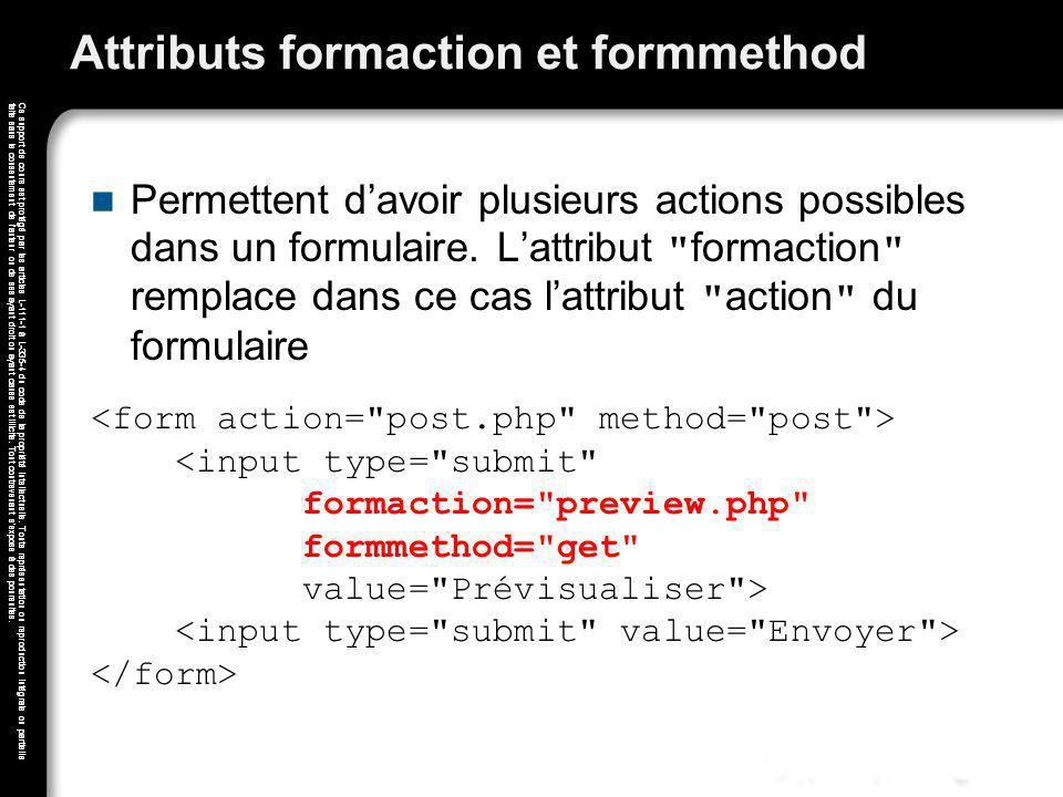 Attributs formaction et formmethod