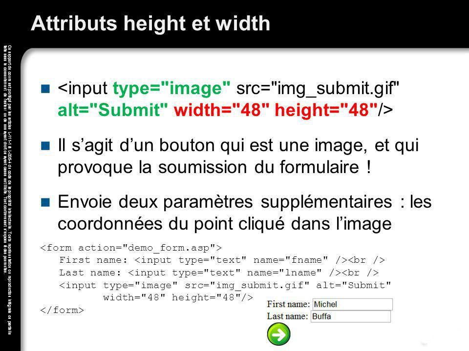 Attributs height et width