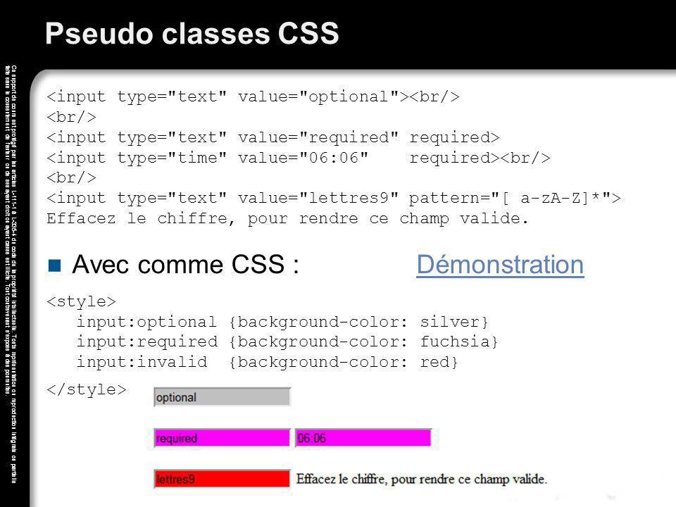 Pseudo classes CSS Avec comme CSS : Démonstration