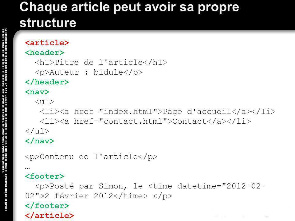 Chaque article peut avoir sa propre structure