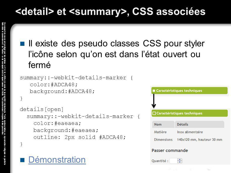 <detail> et <summary>, CSS associées