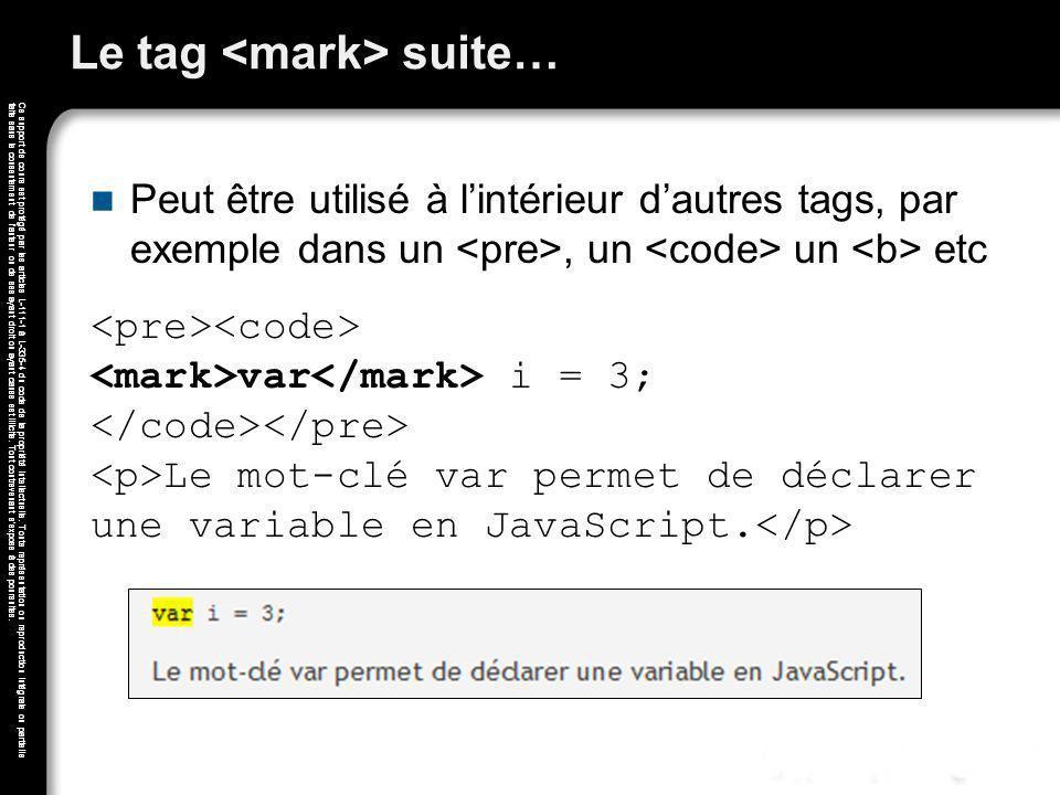 Le tag <mark> suite…