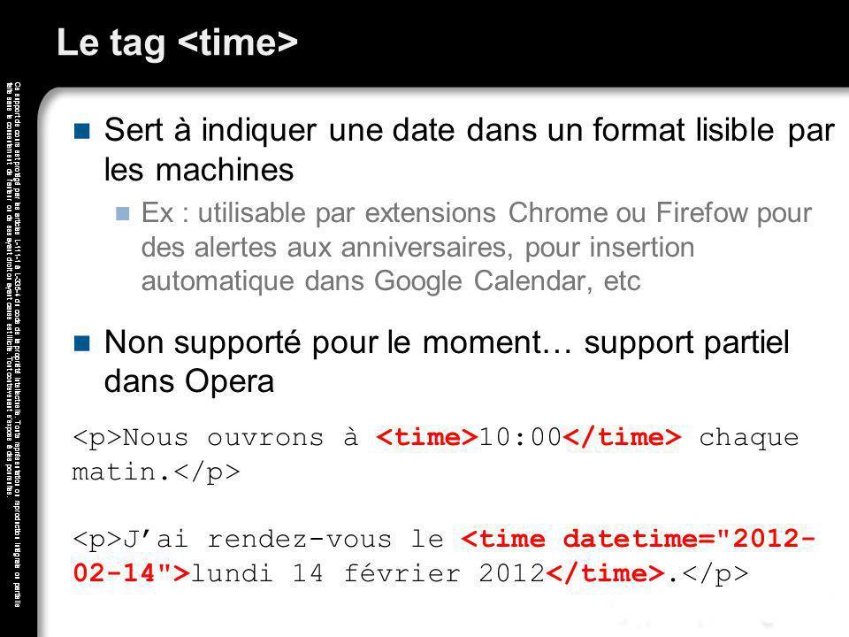 Le tag <time> Sert à indiquer une date dans un format lisible par les machines.