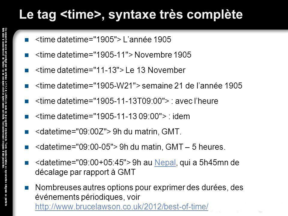 Le tag <time>, syntaxe très complète