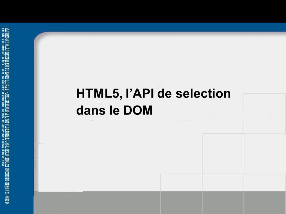 HTML5, l'API de selection dans le DOM