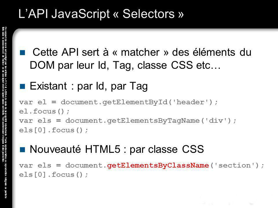 L'API JavaScript « Selectors »