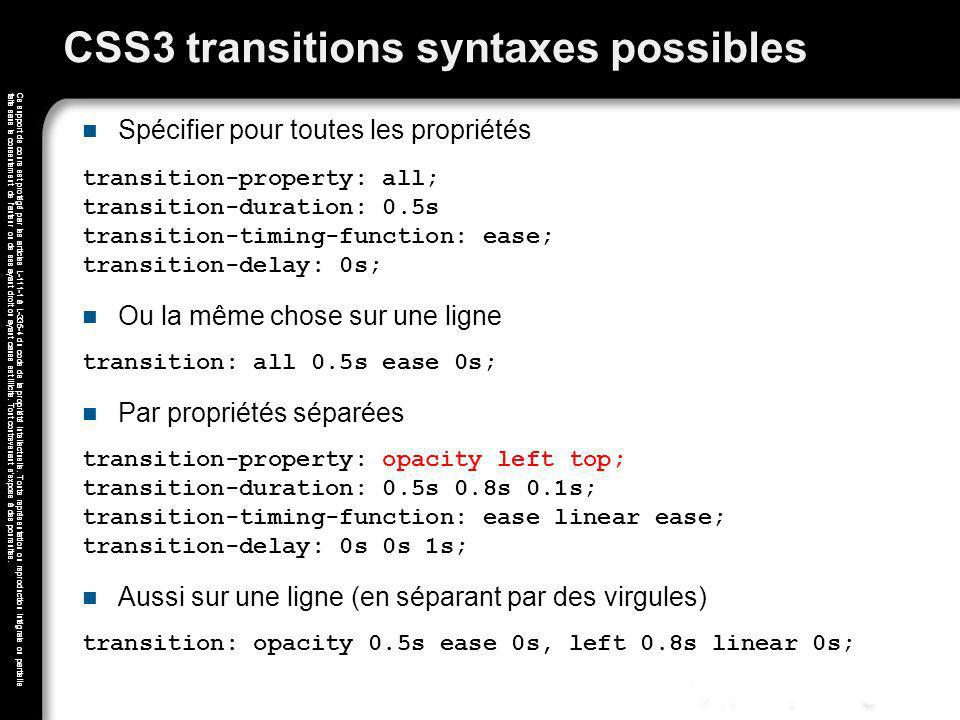 CSS3 transitions syntaxes possibles