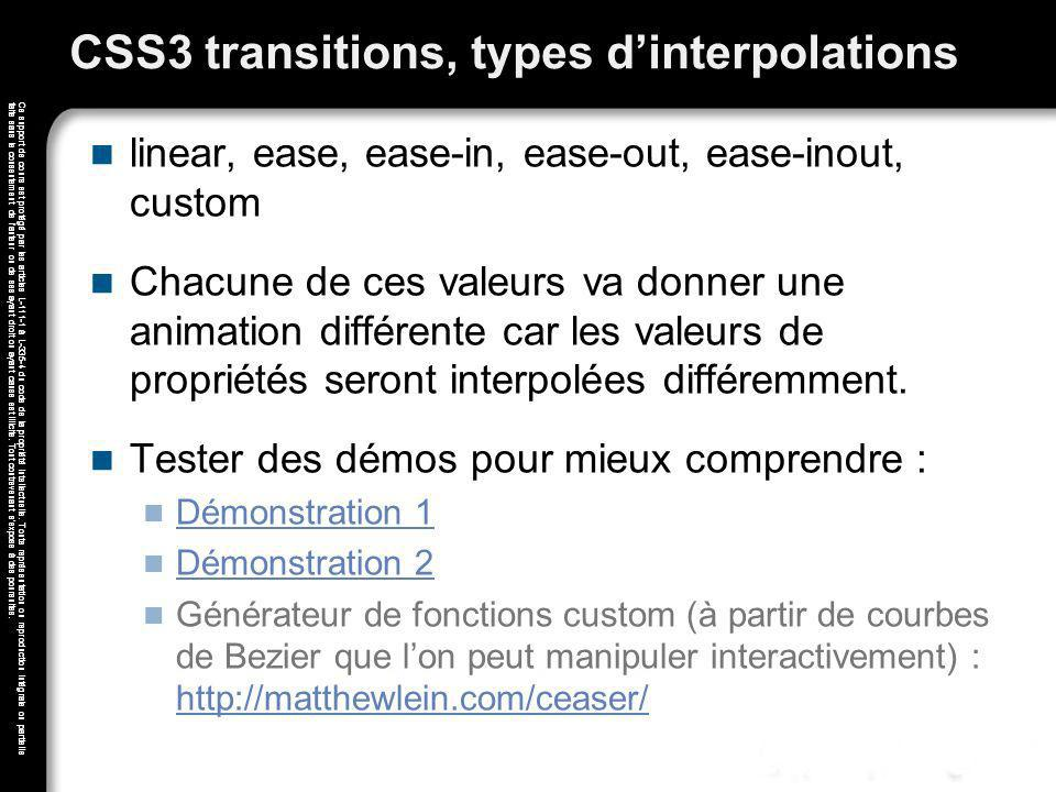CSS3 transitions, types d'interpolations