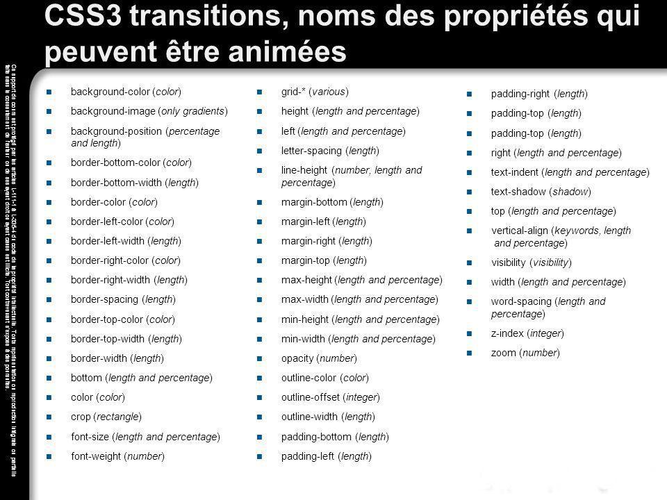 CSS3 transitions, noms des propriétés qui peuvent être animées