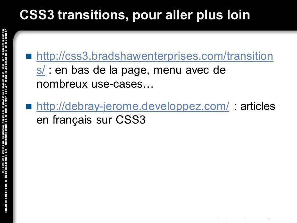 CSS3 transitions, pour aller plus loin