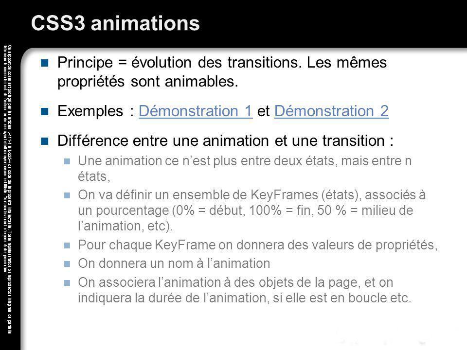 CSS3 animations Principe = évolution des transitions. Les mêmes propriétés sont animables. Exemples : Démonstration 1 et Démonstration 2.