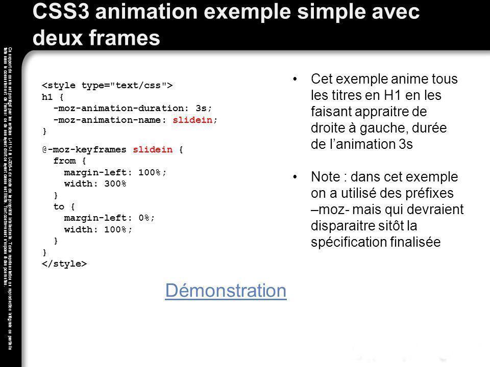 CSS3 animation exemple simple avec deux frames