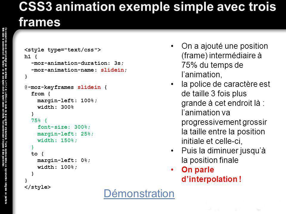 CSS3 animation exemple simple avec trois frames