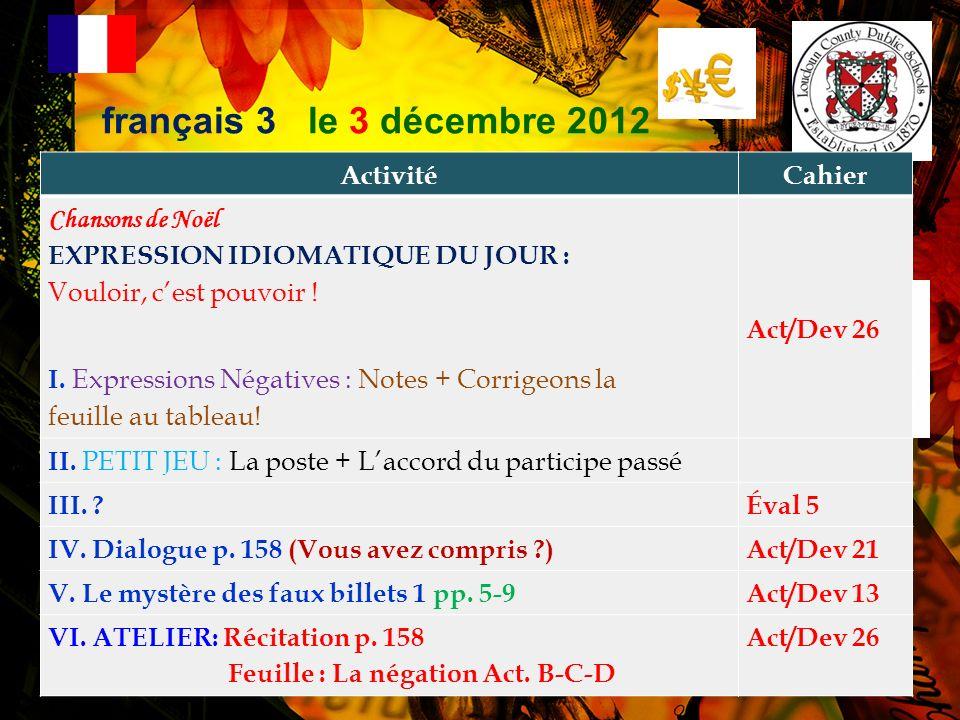 français 3 le 3 décembre 2012 Activité Cahier Chansons de Noël
