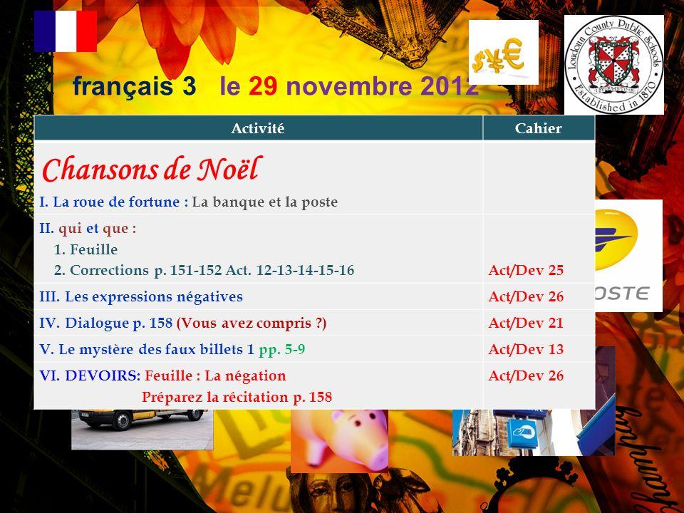 Chansons de Noël français 3 le 29 novembre 2012 Activité Cahier