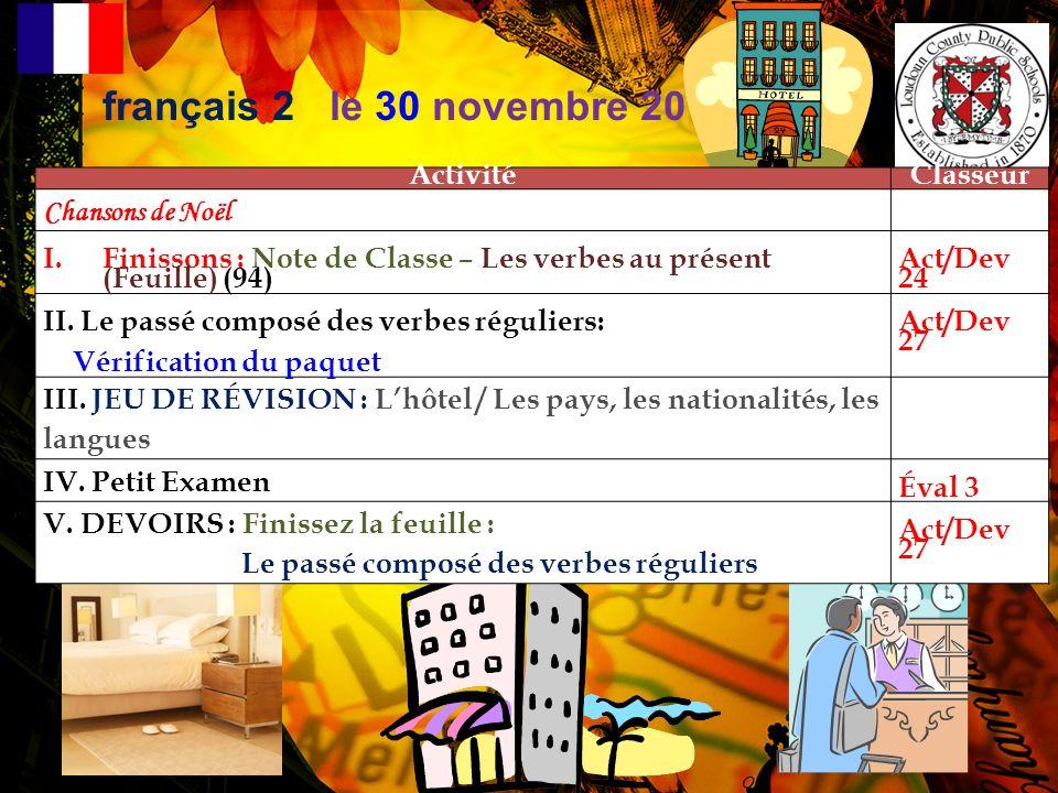 français 2 le 30 novembre 2012 Activité Classeur Chansons de Noël