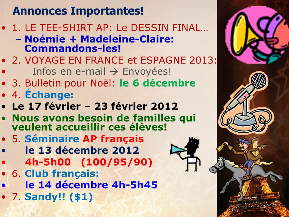 Annonces Importantes! 1. LE TEE-SHIRT AP: Le DESSIN FINAL…