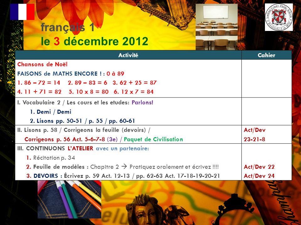 français 1 le 3 décembre 2012 Activité Cahier Chansons de Noël