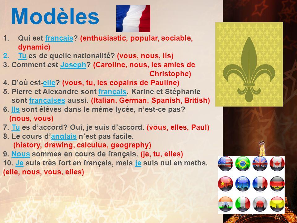 Modèles Qui est français (enthusiastic, popular, sociable, dynamic)