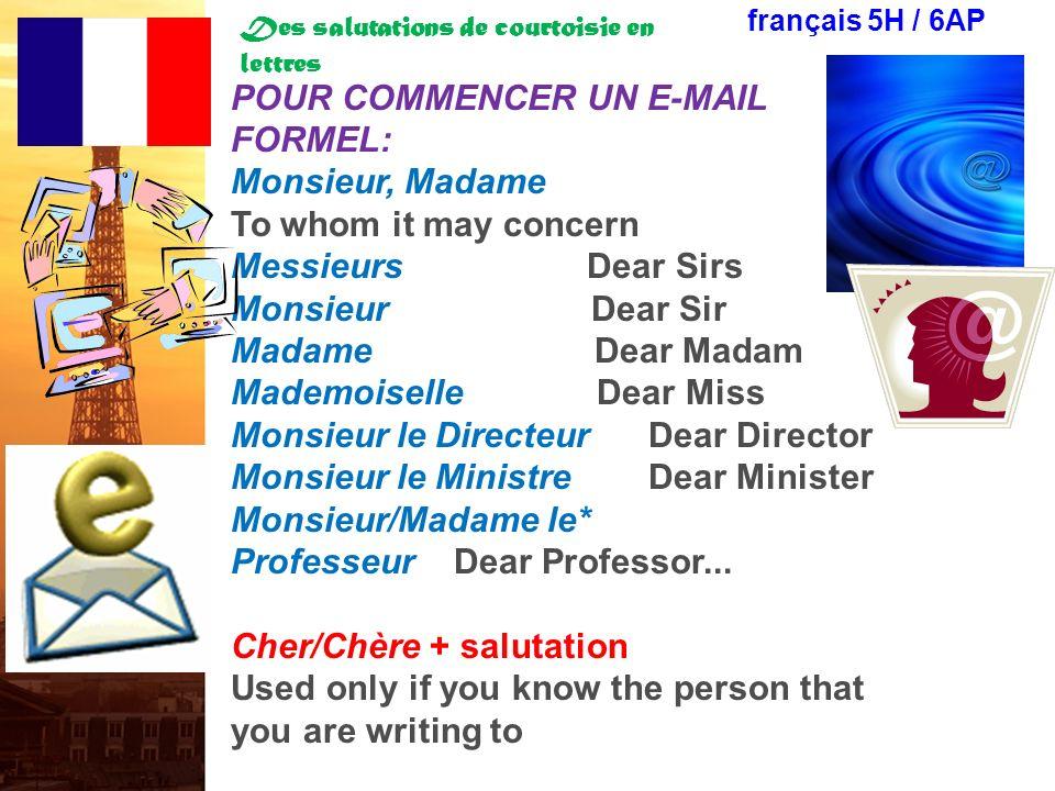 Des salutations de courtoisie en lettres