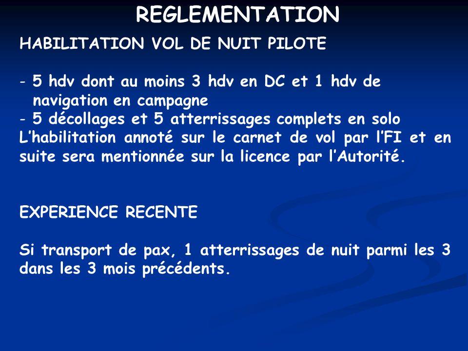 REGLEMENTATION HABILITATION VOL DE NUIT PILOTE