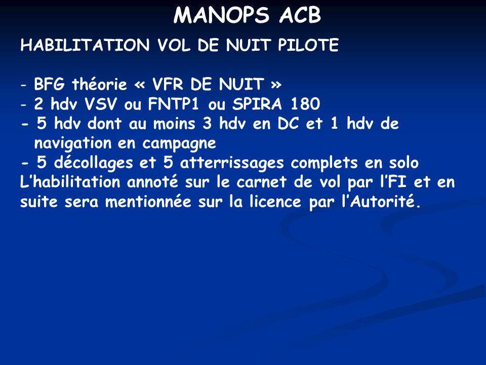 MANOPS ACB HABILITATION VOL DE NUIT PILOTE BFG théorie « VFR DE NUIT »