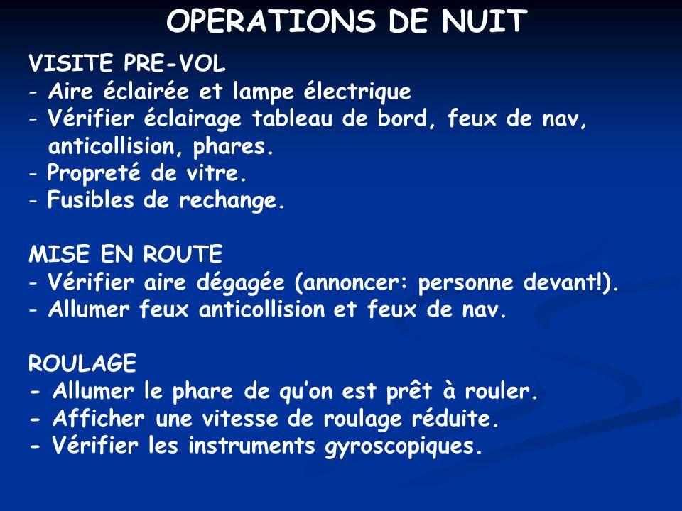 OPERATIONS DE NUIT VISITE PRE-VOL Aire éclairée et lampe électrique