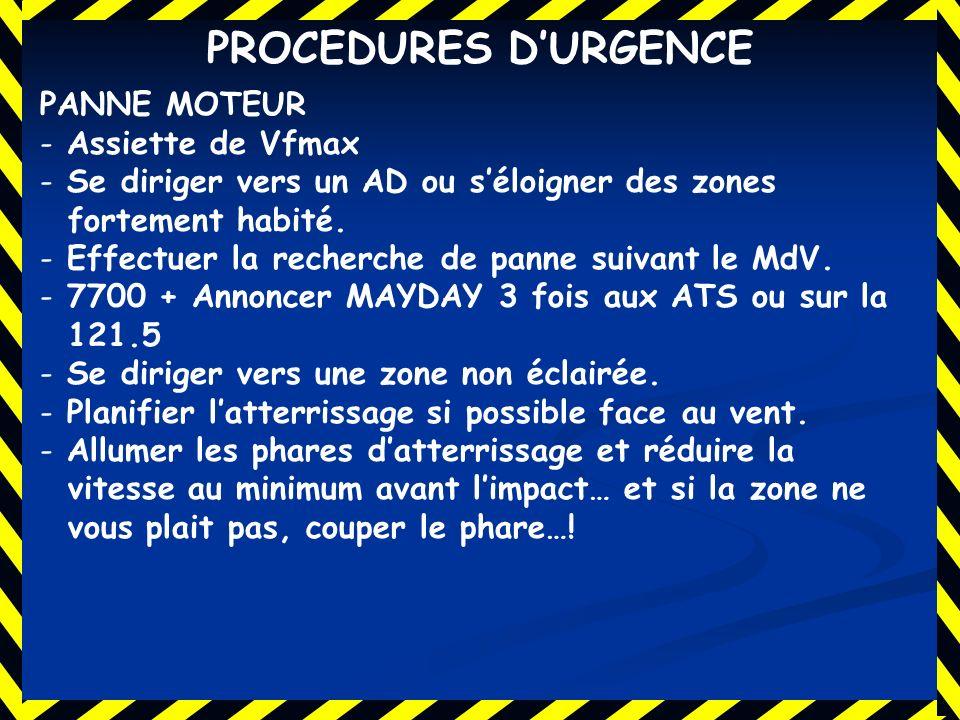 PROCEDURES D'URGENCE PANNE MOTEUR Assiette de Vfmax