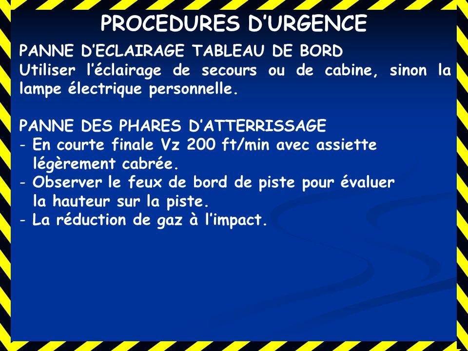 PROCEDURES D'URGENCE PANNE D'ECLAIRAGE TABLEAU DE BORD