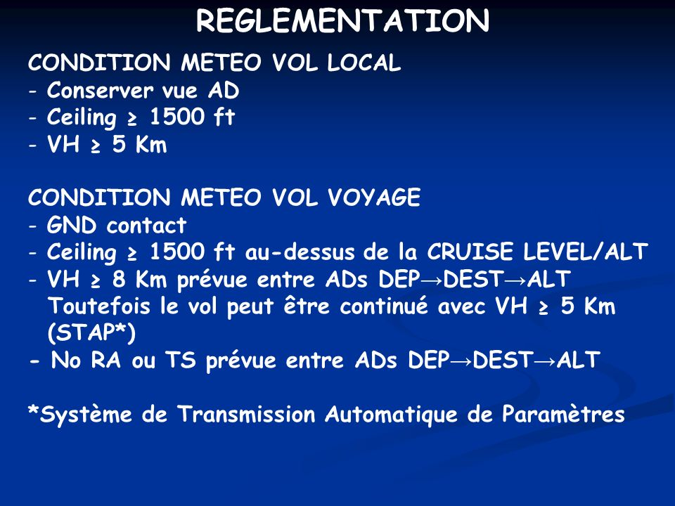 REGLEMENTATION CONDITION METEO VOL LOCAL Conserver vue AD