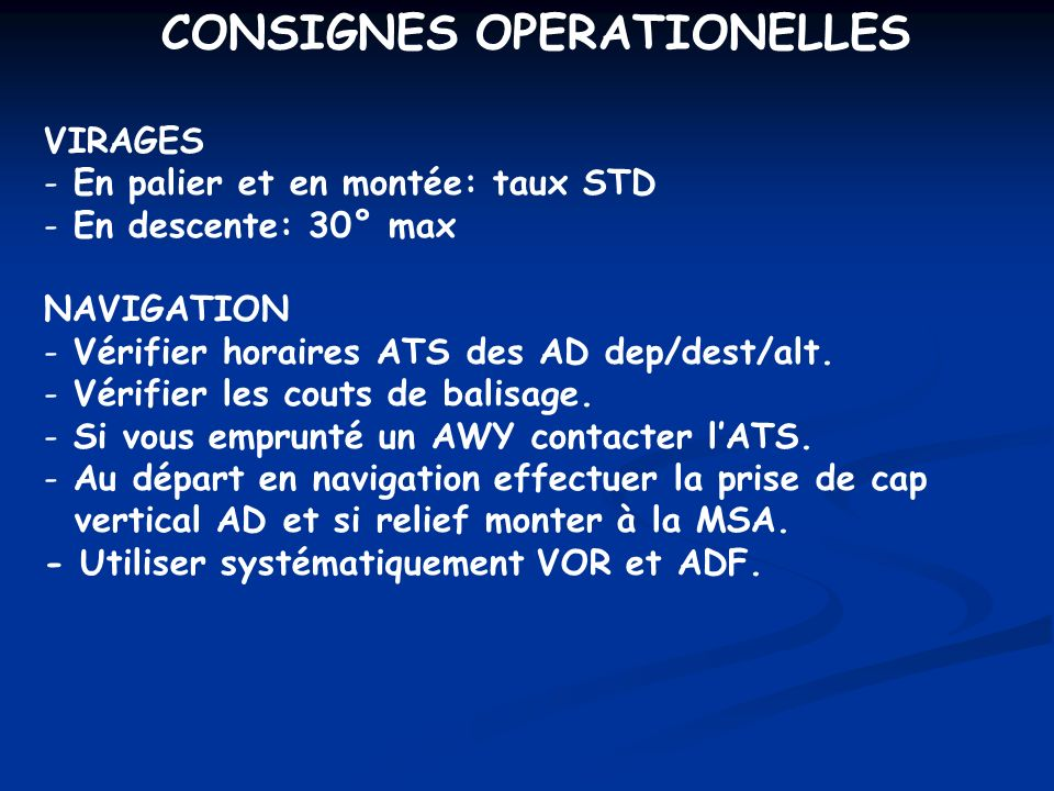 CONSIGNES OPERATIONELLES