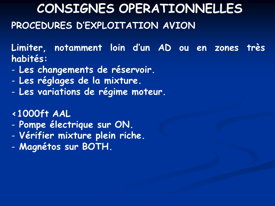 CONSIGNES OPERATIONNELLES