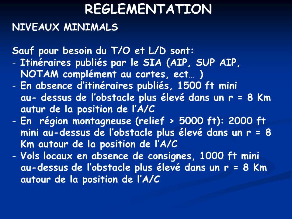 REGLEMENTATION NIVEAUX MINIMALS Sauf pour besoin du T/O et L/D sont: