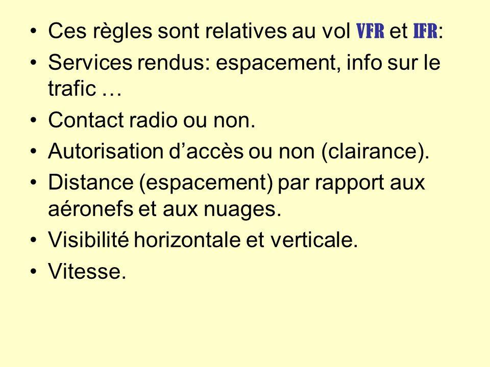 Ces règles sont relatives au vol VFR et IFR: