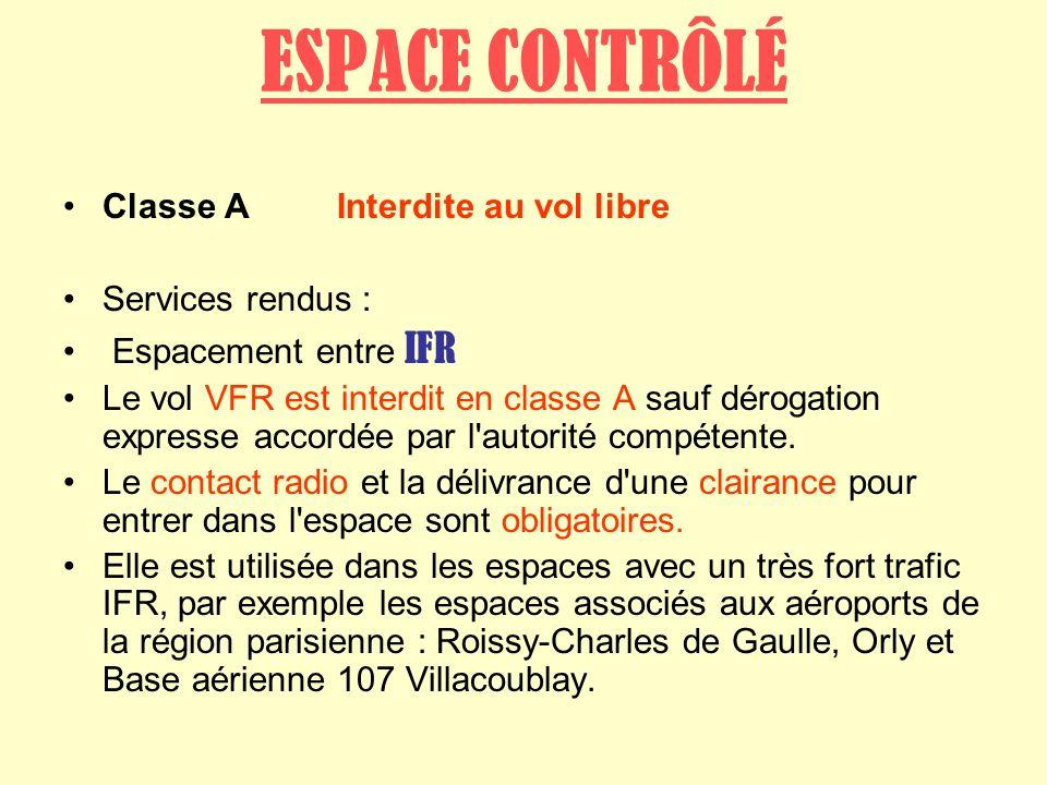 ESPACE CONTRÔLÉ Classe A Interdite au vol libre Services rendus :