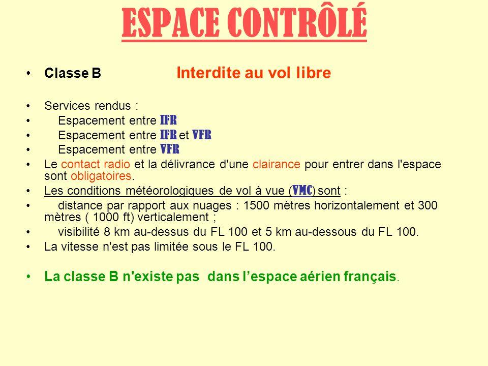 ESPACE CONTRÔLÉ Classe B Interdite au vol libre