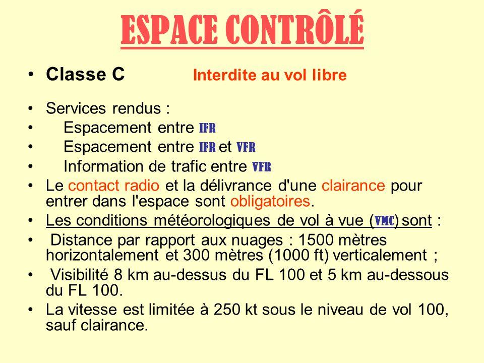 ESPACE CONTRÔLÉ Classe C Interdite au vol libre Services rendus :