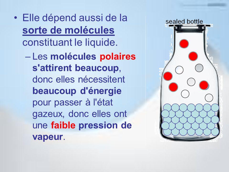 Elle dépend aussi de la sorte de molécules constituant le liquide.